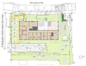 Praxisfläche für Arzt, Apotheke oder medizinische Angebote in Ludwigshafen Melm, mit Grundriss und Lageplan