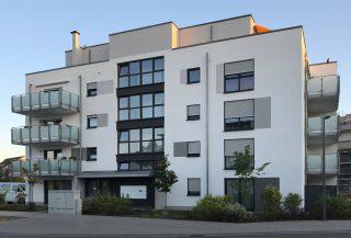 Integriertes Betreutes Wohnen von B&X und DRK in Ludwigshafen Melm - Straßenansicht des barrierefreien Wohngebäudes